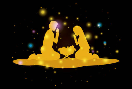 Merry Christmas card with holy family silhouette Illustration