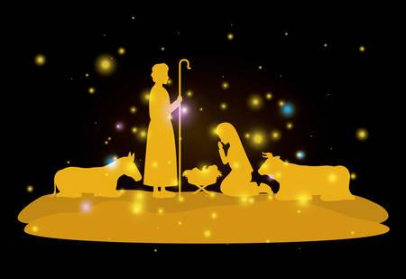 Tarjeta navideña con sagrada familia y animales. Ilustración de vector