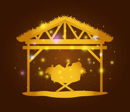 Merry Christmas card with JesusChrist in stable