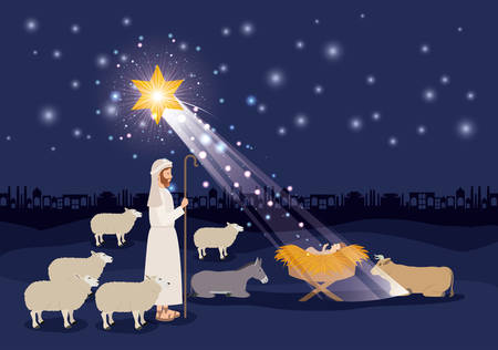 Christmas card with Jesus baby and sheeps