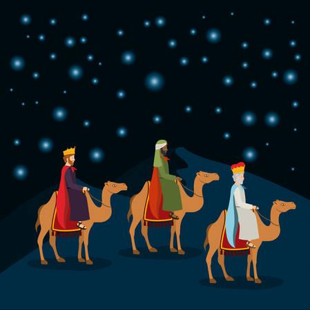 Wise men traveling in the desert Vecteurs
