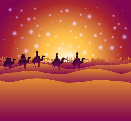 Wise men traveling in the desert 向量圖像