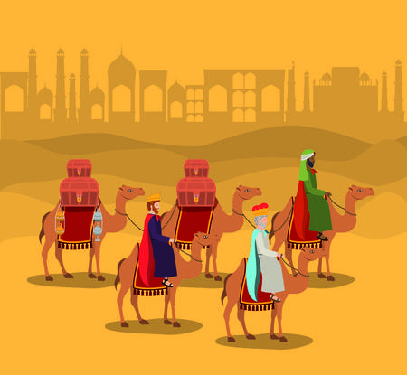Wise men traveling in the desert Çizim