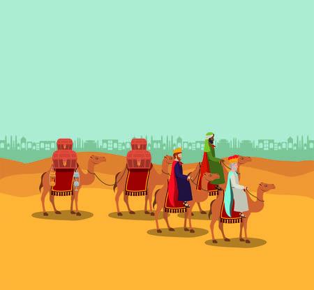 Les sages voyageant dans le désert