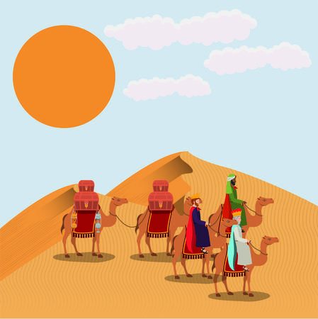 Wise men travelling in the desert Vetores