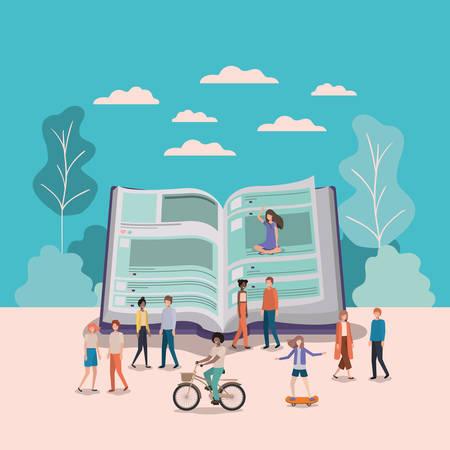 Mini people working in text book