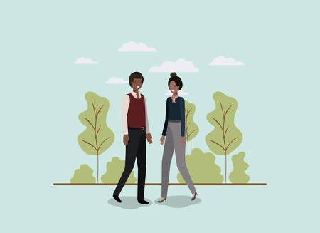 elegant business couple walking in the park vector illustration design 일러스트