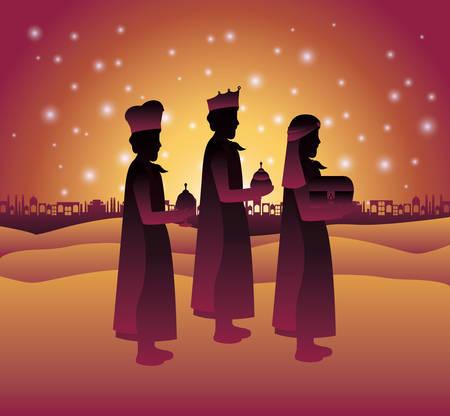 Wise men traveling in the desert Illustration