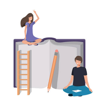 couple with crossed feet and text book vector illustration design