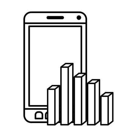 smarphone with statistics charts isolated icon vector illustration desing