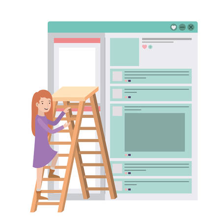 woman with social network profile and ladder vector illustration desing