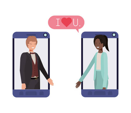 couple of business in smartphone with speech bubble vector illustration desing Foto de archivo - 110875274