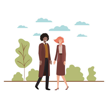 young couple of business with landscape avatar character vector illustration design Illustration