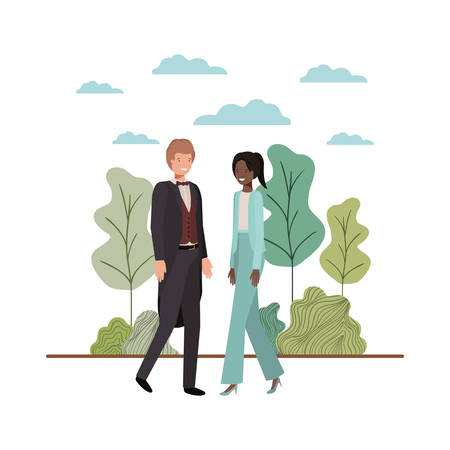 young couple of business with landscape avatar character vector illustration desing