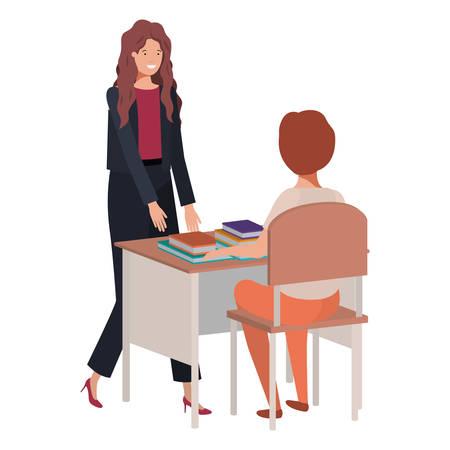 female teacher in the classroom with student vector illustration desing Ilustração