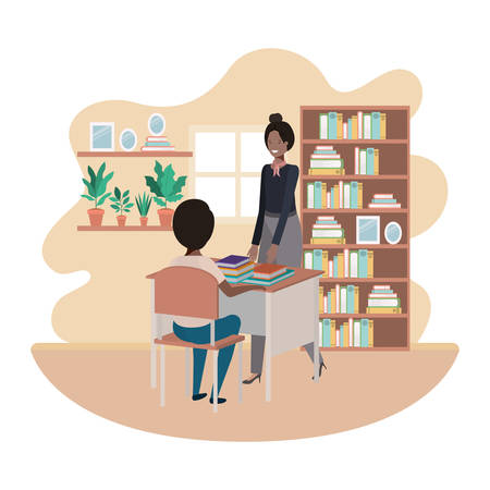 female teacher in the classroom with student vector illustration design