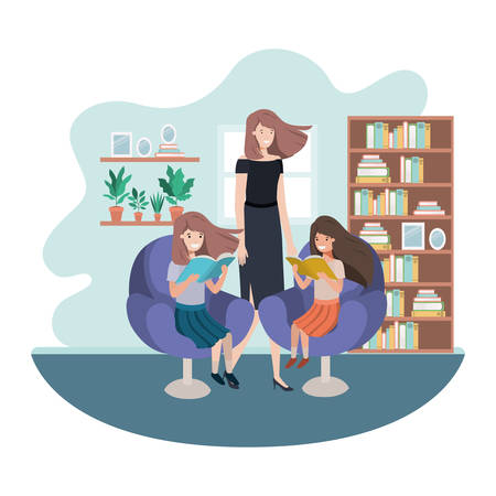 mother and daughters sitting in chair avatar character vector illustration design Vettoriali