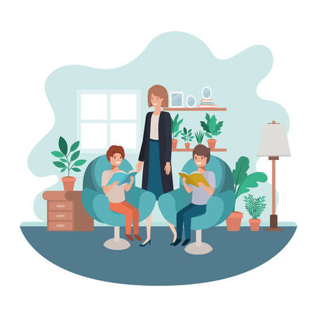 mother and sons sitting in chair avatar character vector illustration design