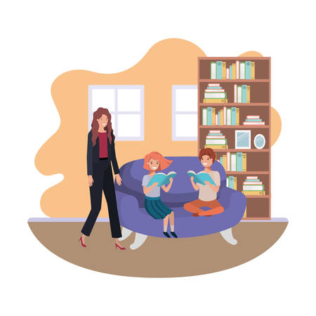 mother and children sitting in couch avatar character vector illustration design