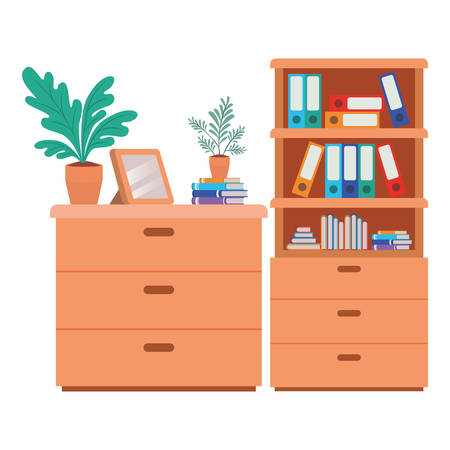shelving with books isolated icon vector illustration desing