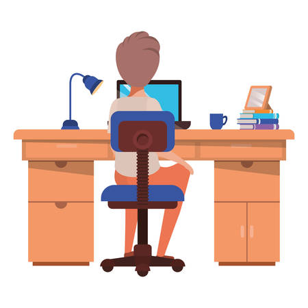 man working in the office avatar character vector illustration desing