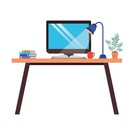 office desk with computer isolated icon vector illustration design