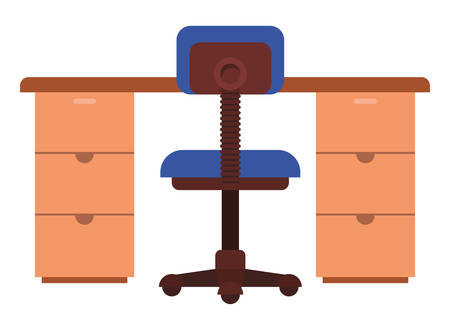 office desk with chair isolated icon vector illustration desing 向量圖像