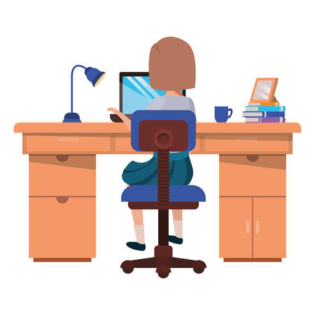woman working in the office avatar character vector illustration desing