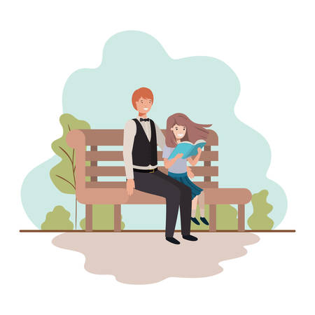 father and daughter sitting in park chair avatar character vector illustration desing