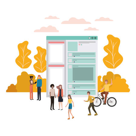 group of people with social network profile vector illustration design Vecteurs