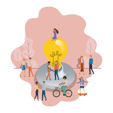 group of people with lightbulb avatar character vector illustration desing Vektorové ilustrace
