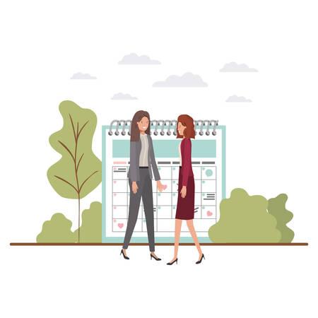 businesswomen with calendar reminder avatar character vector illustration desing  イラスト・ベクター素材