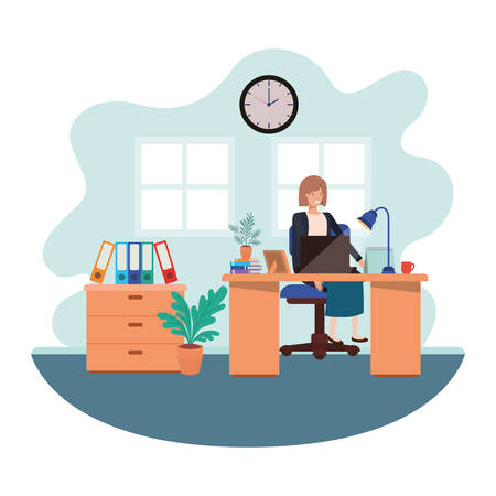 woman working in the office avatar character vector illustration design Illustration