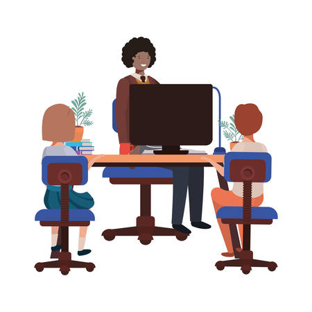 businessman in the office with children avatar character vector illustration desing