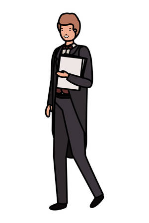 young business man wit book avatar character vector illustration desing