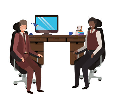 businessmen in the work office avatar character vector illustration design