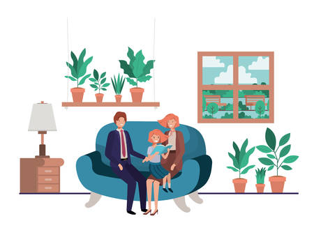 parents couple with daugether sitting in livingroom vector illustration design Vectores