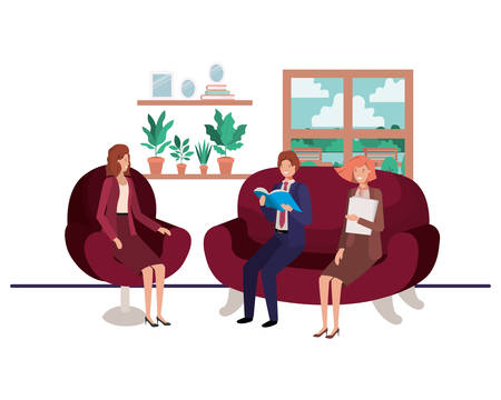 group of people bussiness sitting in livingroom vector illustration design