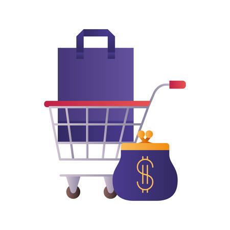 Einkaufstasche mit Einkaufswagen und Münzbeutel-Vektor-Illustrationsdesign Vektorgrafik