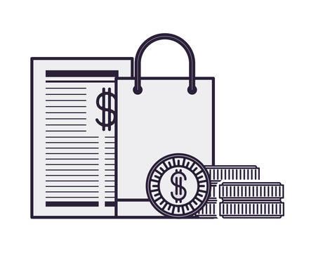 gift bag with payment document vector illustration design Illustration