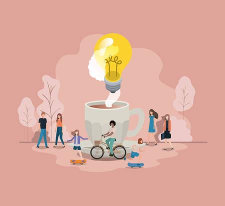 filiżanka kawy z żarówką i mini ludźmi ilustracji wektorowych projektu