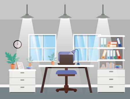 bureau moderne, patron, scène, vecteur, illustration, conception Vecteurs