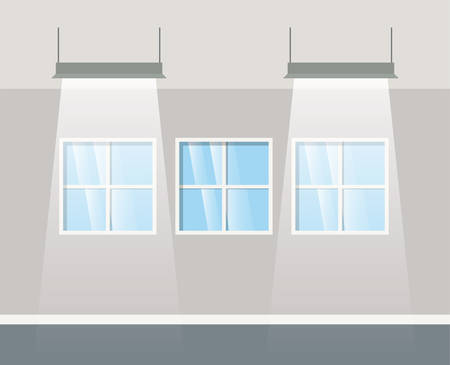 corridor building with lamps hanging vector illustration design