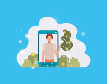 man in smartphone on landscape vector illustration design