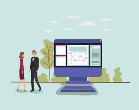 mini people working in computer desktop vector illustration design 向量圖像