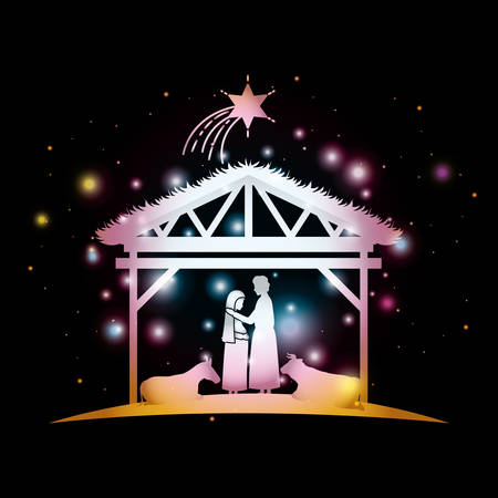 christmas card with holy family and animals in stable vector illustration Banque d'images - 111468619