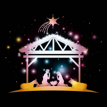 merry christmas card with holy family in stable vector illustration design