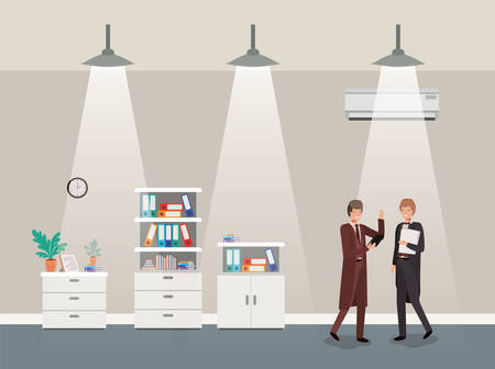businessmen couple in corridor office vector illustration design