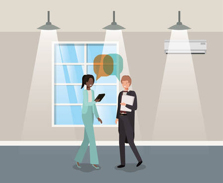 business couple talking in corridor office vector illustration design Vectores