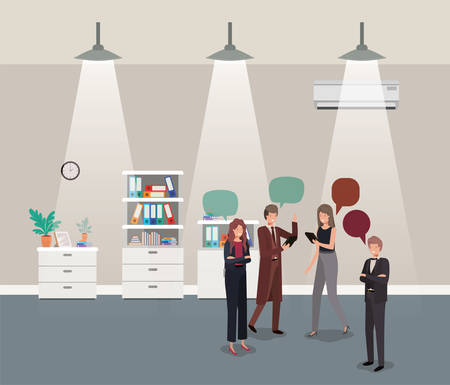 business people talking in corridor office vector illustration design